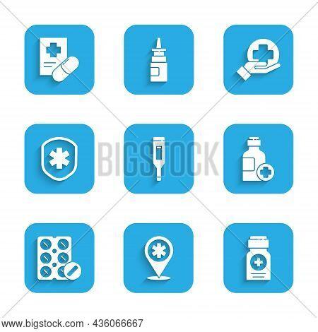 Set Medical Digital Thermometer, Map Pointer With Cross Hospital, Medicine Bottle, Bottle Of Medicin