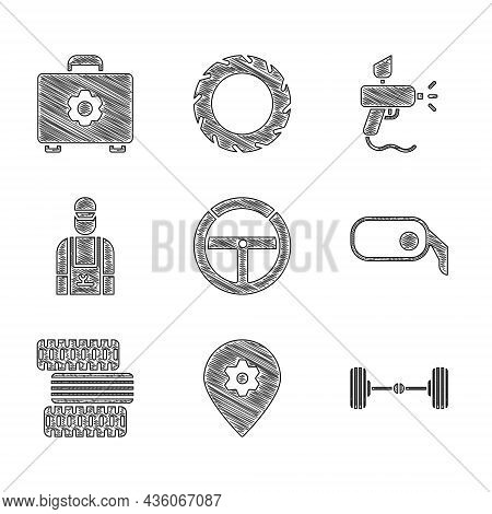 Set Steering Wheel, Location With Car Service, Chassis, Car Rearview Mirror, Tire, Mechanic, Paint S