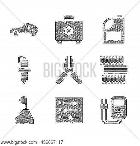 Set Car Battery Jumper Power Cable, Settings, Multimeter, Tire Wheel, Gear Shifter, Spark Plug, Cani