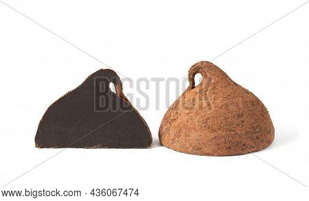 Homemade  Chocolate Truffles With Cocoa Powder Isolated On White