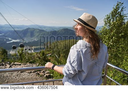 Travel Woman In Hat. Mountain Trekking. Hipster Journey. Unrecognizeble People. Nature Landscape Wit