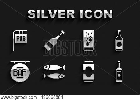Set Dried Fish, Beer Bottle, Glass Of Vodka, Can, Street Signboard With Bar, Effervescent Tablets In