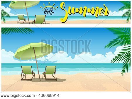 Summer Paradise On The Beach Background And Banner - Illustrated Composition On The Tropical Coast,