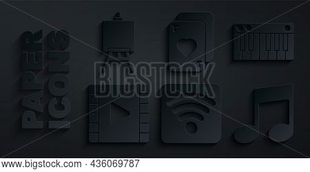 Set Wi-fi Wireless Internet Network, Music Synthesizer, Play Video, Note, Tone, Playing Cards And Ea