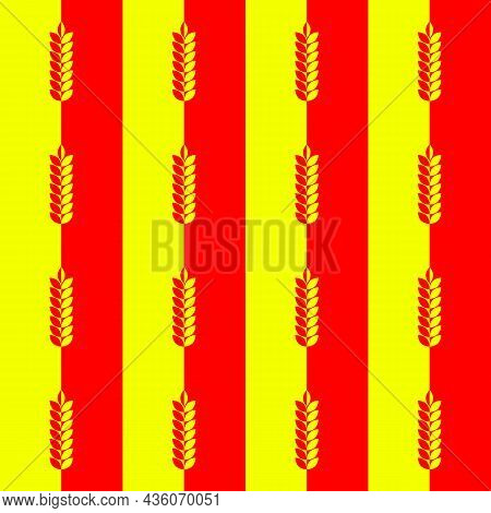 Red Yellow Background And Pattern With Ear Of Wheat, Barley Or Rye. Vector Seamless Repeating Editab