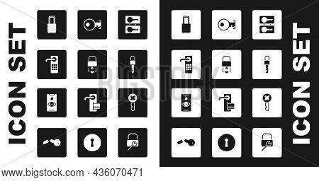 Set Casting Keys, Key Broke Inside Of Padlock, Digital Door, Lock, Locked, Wrong And Eye Scan Icon.