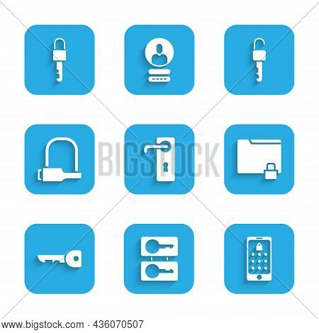 Set Door Handle, Casting Keys, Mobile Graphic Password, Folder Lock, Key, Bicycle, Unlocked And Lock