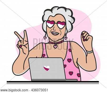 Happy Granny With Laptop. A Fashionable Modern Old Woman In Glasses And A Pink Swimsuit.