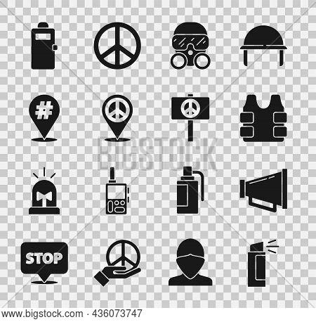 Set Pepper Spray, Megaphone, Bulletproof Vest, Gas Mask, Location Peace, Protest, Police Assault Shi
