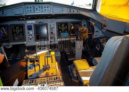 Kyiv, Ukraine - June 27, 2020: Airplane Cockpit, Pilots Workplace With A Steering Wheel. Passenger F