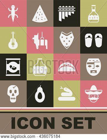 Set Mexican Man Sombrero, Aztec Mask, Flip Flops, Pan Flute, Pinata, Guitar, Lizard And Poncho Icon.