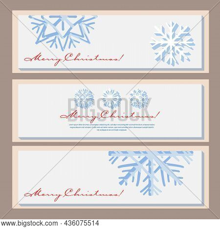 A Set Of Horizontal Banners With Paper-cut Snowflakes. Vector Illustration