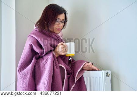 Adult Woman Warming Herself With Blanket, Heating Radiator, Hot Tea