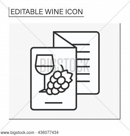 Menu Line Icon. Wine Brochure In A Restaurant. List Of All Wines. Wine Concept. Isolated Vector Illu
