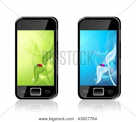 Two mobile phones with  ladybird on leaf  Backgrounds