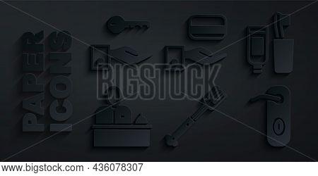 Set Fork, Toothbrush And Toothpaste, Hotel Reception Desk, Door Handle, Digital Door Lock And Key Ic