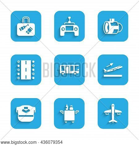 Set Airport Bus, Trolley For Food, Plane, Takeoff, Pilot Hat, Runway, Jet Engine Turbine And Suitcas