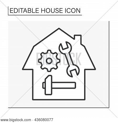 Instruments Line Icon. Tools For Fixing Broken Things. House Concept. Isolated Vector Illustration.