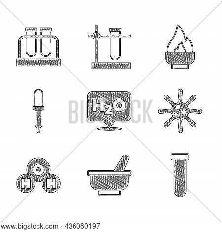 Set Chemical Formula For H2o, Mortar And Pestle, Test Tube Flask, Bacteria, Pipette, Alcohol Spirit