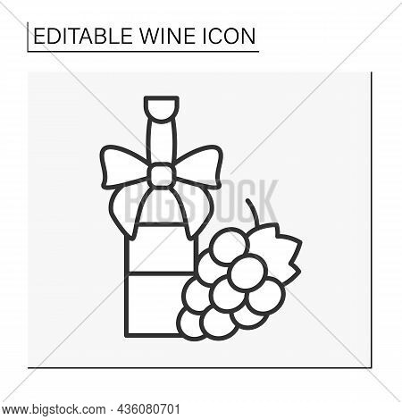 Gift Line Icon. Nice Packed Bottle For Present. Gift Ribbon And Ripe Grapes. Wine Concept. Isolated