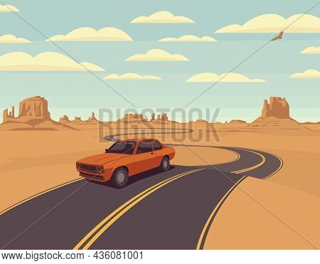 Vector Landscape With A Highway And A Single Passing Car In A Rocky Desert With Clouds In The Sky. C