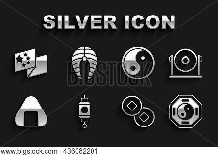 Set Chinese Paper Lantern, Gong, Yin Yang, Yuan Currency, Sushi, China Flag And Fish Steak Icon. Vec