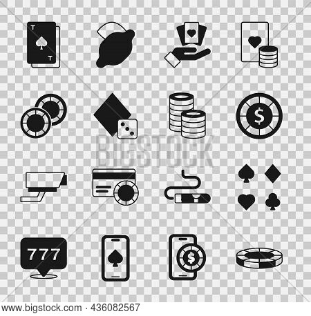 Set Casino Chips, Deck Of Playing Cards, Hand Holding, Game Dice, Playing With Spades And Icon. Vect