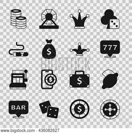 Set Casino Roulette Wheel, Slot Machine With Lemon, Slot Jackpot, Joker Playing Card, Money Bag, Cig