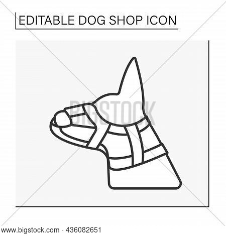 Muzzle Line Icon. Covering Jaws And Nose Of An Animal, Snout.shop Concept. Isolated Vector Illustrat