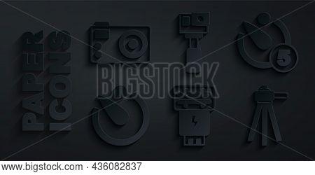 Set Photo Camera Flash, Camera Timer, Tripod, Action And Icon. Vector
