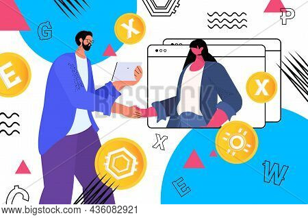 Businesspeople Using Cryptocurrency Mining Application On Tablet Pc Virtual Money Transfer App Banki