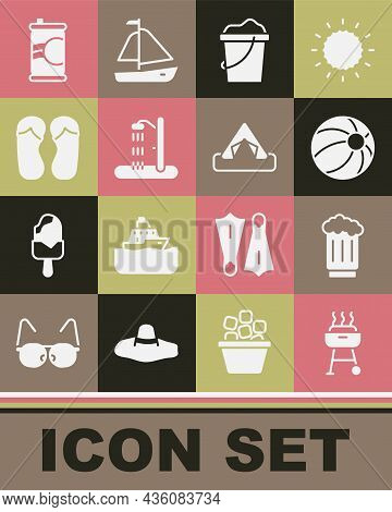 Set Barbecue Grill, Wooden Beer Mug, Beach Ball, Sand In Bucket, Shower, Flip Flops, Soda Can And To
