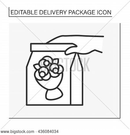 Free Shipping Line Icon. Bouquet For Surprise Delivery. Present. Delivery Concept. Isolated Vector I