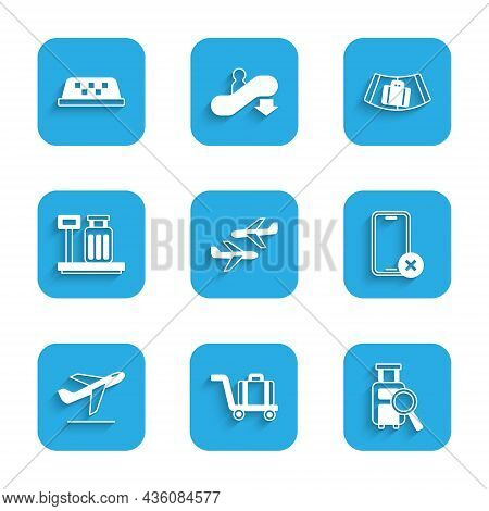 Set Plane, Trolley Baggage, Lost, No Cell Phone, Takeoff, Scale With Suitcase, Conveyor Belt And Tax