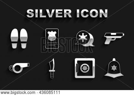 Set Military Knife, Pistol Or Gun, British Police Helmet, Safe, Whistle, Hexagram Sheriff, Footsteps