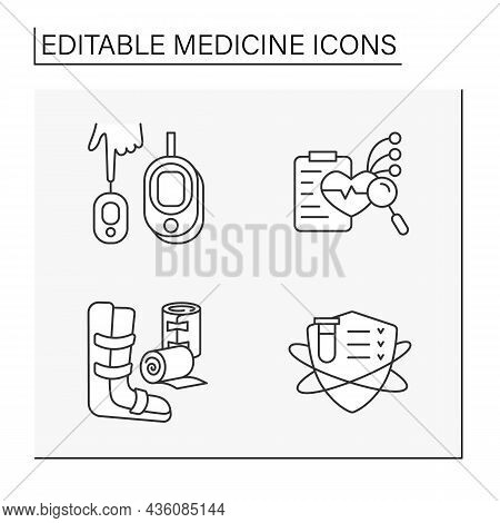 Medicine Line Icons Set. Bandage And Strip Of Woven Material, Clinical Trials, Blood Sugar Or Glucos