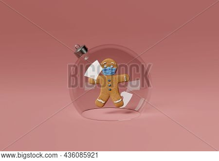 Gingerbread Man With Face Mask Inside A Christmas Ball. Christmas Confinement Concept. 3d Rendering