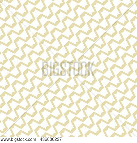 Seamless Abstract Grid Pattern. Vector Illustration With Diagonal Wavy Lines And Zigzag Shapes. The
