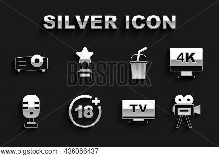 Set Plus 18 Movie, Screen Tv With 4k, Retro Cinema Camera, Smart Tv, Microphone, Paper Glass Water,
