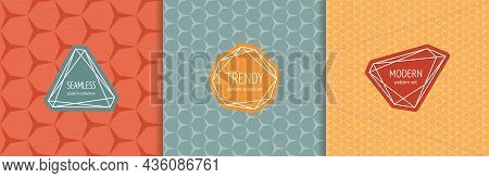 Vector Abstract Seamless Pattern Set With Stylish Labels, Badges. Stylish Cover Designs. Abstract Te