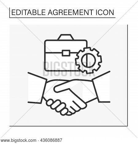 Deal Line Icon. Good Business Deal Between Partners. Agreement Concept. Isolated Vector Illustration
