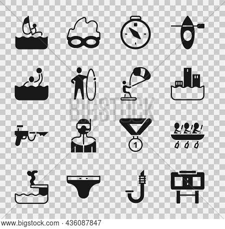 Set Sport Mechanical Scoreboard, Canoe Rowing Team Sports, Winner Podium, Compass, Surfboard, Water