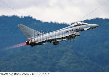 Zeltweg, Austria - June 28, 2013: Military Fighter Jet Plane At Air Base. Air Force Flight Operation