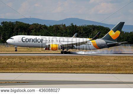 Frankfurt, Germany - July 7, 2017: Condor Flugdienst Passenger Plane At Airport. Schedule Flight Tra