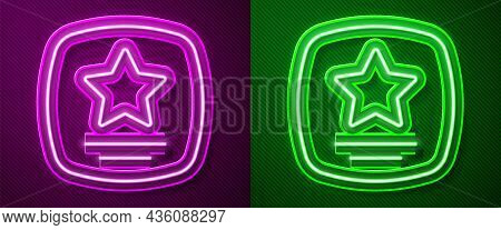 Glowing Neon Line Walk Of Fame Star On Celebrity Boulevard Icon Isolated On Purple And Green Backgro