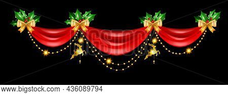Christmas Holiday Border, Vector Red Curtain Frame Design, Golden Decoration Garland Reindeer Toy. X