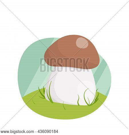 Flat Illustration, White Mushroom In The Grass, On The Hill.