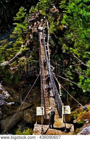 People Crossing Precarious Suspension Bridge On Trail At The Himalaya Ridge. The World Largest And H