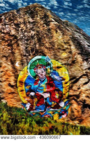 Colorful Painting Representing A Hindu God On A Cliff At The Himalayas. The World Largest And Highes