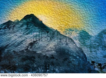 Sunrise Behind Snowy Mountains And Deep Valleys At The Himalayas. The World Largest And Highest Moun